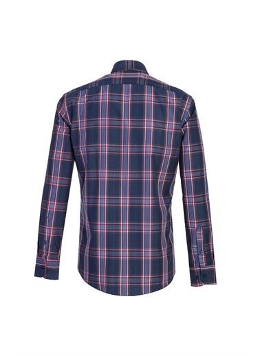 Kiğılı Uzun Kol Ekose Slim Fit Gömlek Lacivert